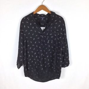 American Eagle Feather Print 1/2 Button Blouse